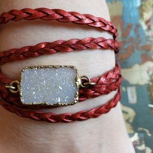 Anthropologie Red Leather Wrap Bracelet w/Druzy